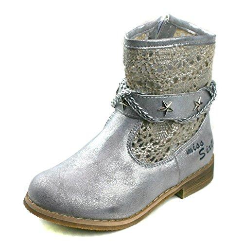 Miss Sixty ms726 Mädchen Mid Kalb Sommer Stiefel in Silber Metallic
