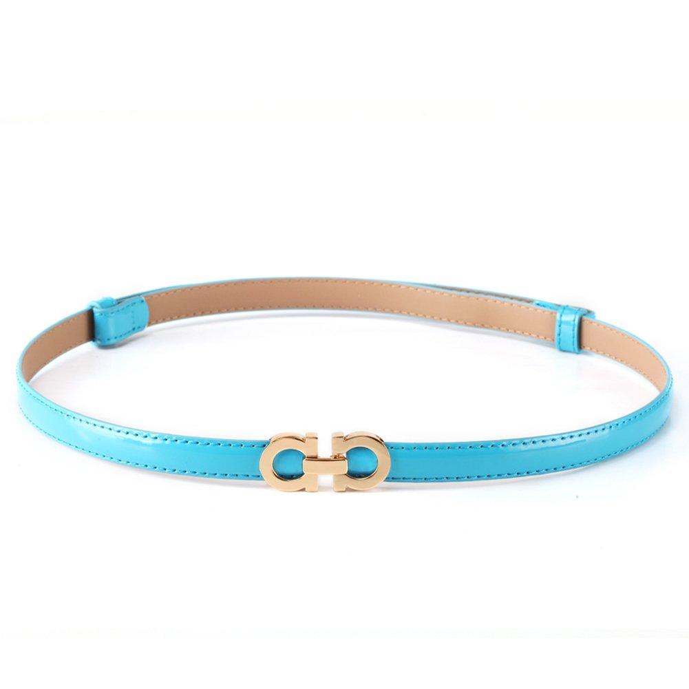MoYoTo Women's Stylish Thin Patent Leather Gold Skinny Waist Belts For Dresses (Sky Blue)