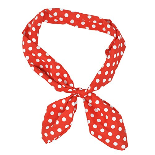 Lux Accessories Red White Polka Dot Tie Headband Head (Red Polka Dot Satin)