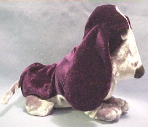 Hush Puppies Deep Purple Velvety Beanie Basset Hound Dog Puppy Silky Smooth Look by Applause