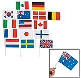 Banderas de todas las naciones–Decoraciones de fiesta & Banderas & buntin (1-Pack de 72), Rojo, azul, negro
