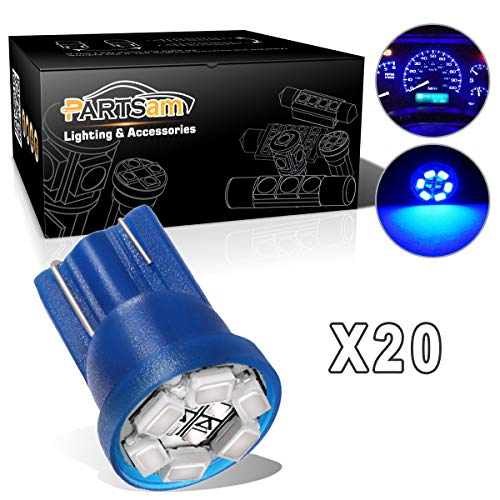 Partsam T10 PC194 2825 LED Light Bulb 168 LED Bulbs Bright Instrument Panel Gauge Cluster Dashboard LED Light Bulbs Set fit Dodge Stratus Ford GMC 20Pcs-Blue - Probe Shifter Ford Short
