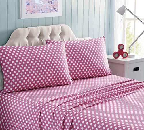 Kute Kids Super Soft Sheet Set - Polka Dot Brushed Microfiber for Extra Comfort (Pink, -