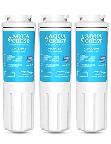AQUACREST UKF8001 Replacement for PUR, Jenn-Air, Maytag UKF8001, UKF8001AXX, UKF8001P, EDR4RXD1, Maelstrom 4396395, Puriclean II, 469006 Refrigerator Water Filter (3 Pack)