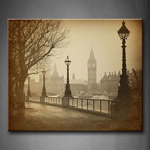 First Wall Art - Brown Vintage Retro Big Ben Houses Of Parliament In London Wall Art Painting Pictures Print On Canvas City The Picture For Home Modern Decoration (Stretched By - Vintage London Frames