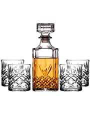 Royalty Art Kinsley Whiskey Glasses Set with Decanter for Scotch, Bourbon, Cognac, and Liquor, Classic 5-Pc. Glass Bundle for Serving Alcohol, Pull Top Drink Stopper
