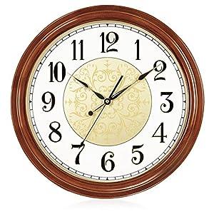 Wall clock Reloj Reloj de Pared de Madera Maciza Europea 17 Pulgadas (diámetro 43cm) Reloj de Pared de la Sala de Estar Dormitorio Movimiento de Barrido 1 batería AA (no incluida) 6