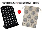 Simply Poppies Black Acrylic Organizer for Small Petite Demi Snap Charm - Holds up to 40 Charms