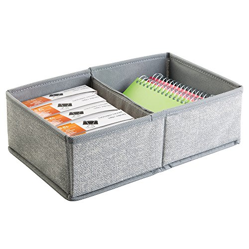mDesign Fabric Desk Drawer Storage Organizer for Office Supplies, Notepads, Pencils, Pens, Envelopes - 2 Compartments, Gray
