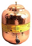 Taluka 13.5 X 5.7''Inches Handmade Hammered Pure Copper Water Pot Tank with Tap | 338.1 Oz Capcity | For water storage in Home Garden Good Health Benefits Yoga