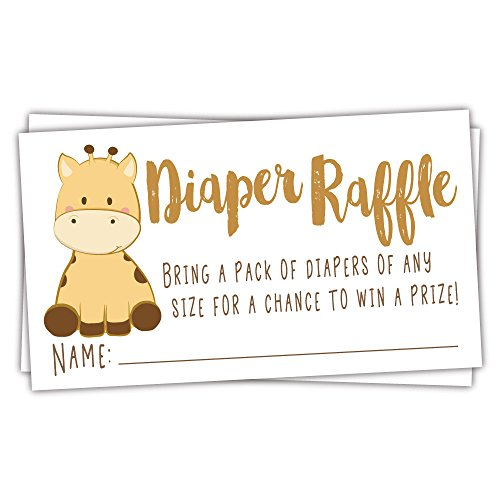 50 Giraffe Diaper Raffle Tickets | Gender Neutral Baby Shower Game