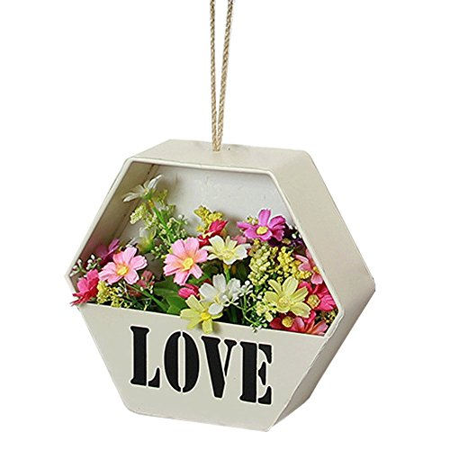 Homring Rustic Metal Hanging Planter Succulent Flower Pot Metal Hanging Planter Wall decor (White)