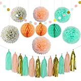 lovely office decor themes Party Decoration Kit (22 Pieces) - Coral, Mint Green & Gold - Tissue Paper Decor w/ Pom Poms, Balls, Tassels, Garland - Birthday Parties, Bridal Showers, Baby Showers, Bridal, Wedding