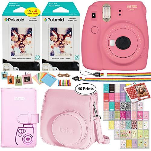 Fujifilm Instax Mini 9 Instant Camera (Flamingo Pink), 2 x Twin Pack Instant Film (40 Sheets), Camera Case, Photo Album, Square Photo Frames & Accessory (Deluxe Flashing Kit)