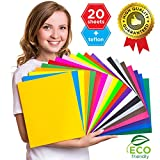 Arts & Crafts : HTV Heat Transfer Vinyl Bundle 12x10 - 20 Multi-Color Sheets for Cricut Silhouette Cameo or Heat Press Machine - Bonus Teflon Sheet Iron On vinyl for DIY T-shirts