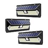 LITOM Outdoor 62 LED Adjustable Time Motion Sensor 270° Wide Angle and Waterproof Design Wireless Solar Lighting for Front Door, Yard, Garage, Deck (3 Pack)