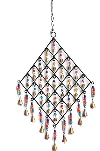 Crossing Seven Seas Christmas Wind Chimes, Outdoor Garden and Home Decor, Elegant Metal Design Windchimes with Soft, Golden Bells Multicolored Glass Beads, Beautiful Wind Chime