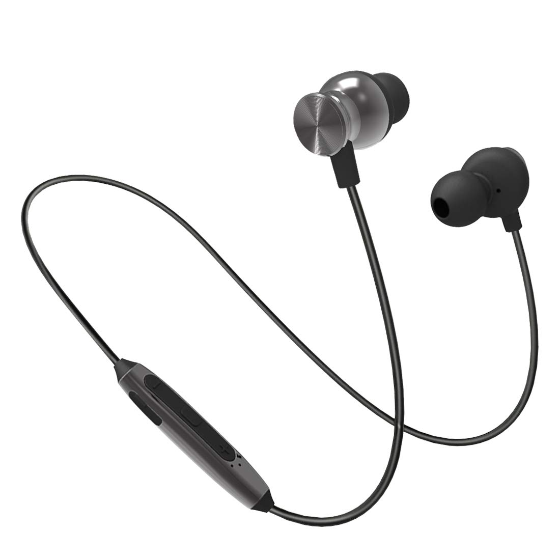pTron Intunes Pro Magnetic in-Ear Wireless Bluetooth Headphones with Mic - (Gray)