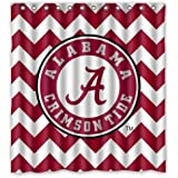 "Custom Waterproof Polyester Fabric Bathroom NCAA Alabama Crimson Tide Shower Curtain with 12 Hooks 66""(w) x 72""(h)"