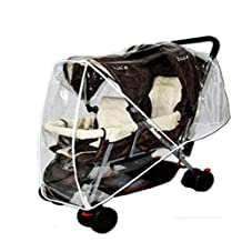 Baby Stroller Waterproof Rain & Wind Shield, Universal Pushchairs Transparent Weather Shield Dust Cover with Window for for Twin Limo Tandem 2 Canopy Double Strollers (Style 2)