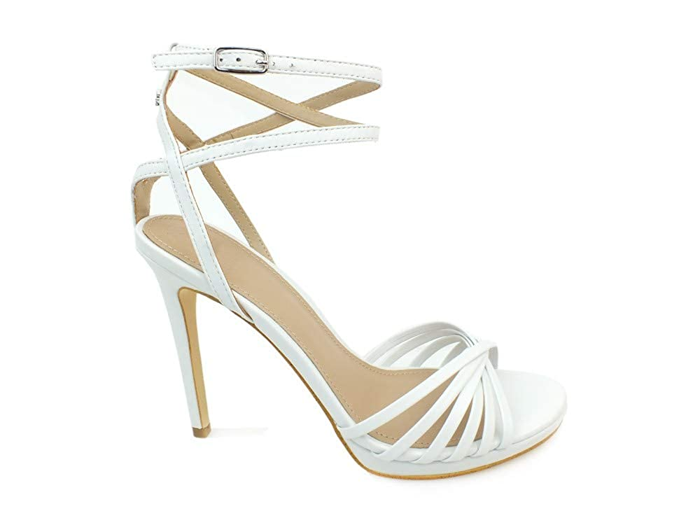blanc blanc Guess Tonya Sandalo (Sandal) Leather, Escarpins Bride Cheville Femme