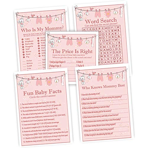 Baby Shower Games for Girls, Set of 5 Activities,25 Cards Each, 125 Total,Baby Shower Supplies,Perfect Baby Bump Party Games Or Gender Reveal Games For Kids, Mom, Dad, Women Men Coed Unisex Set.]()