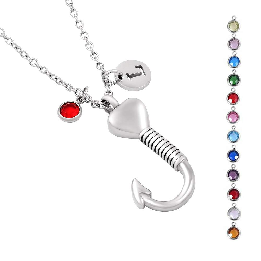 Davitu IJD9779 Love Heart Fish Hook Cremation Urn Memorial Necklace Hold Pet Ashes Keepsake Stainless Steel Men Jewelry Metal Color: 9, Main Stone Color: G