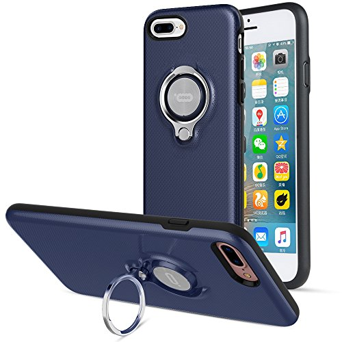 iPhone 8 Plus Case, iPhone 7 Plus Case, ICONFLANG 360 Degree Rotating Ring Kickstand Case Shockproof Impact Protection [Support Magnetic Car Mount Case] iPhone 8 Plus / 7 Plus (2018) - Navy