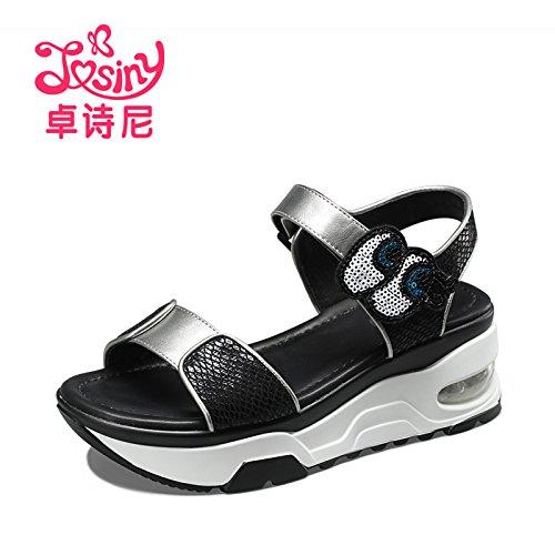 Xing Lin Sandalias De Mujer Nuevos Zapatos De Verano Con El Colegio Estilo Sandalias Informales black