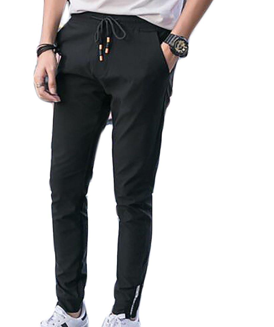 BYWX Men Plus Size Plus Size Autumn Elastic Waist Solid Slim-Tapered Stretch Long Pencil Pants