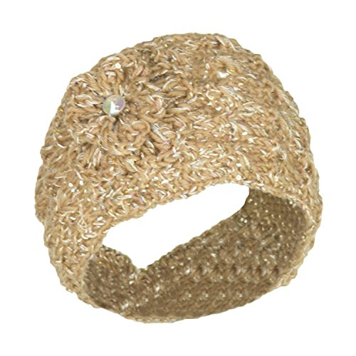 Camel Cute Tinsel Sparkle Winter Knit Headband w/ Crochet Flower, Ear Warmer