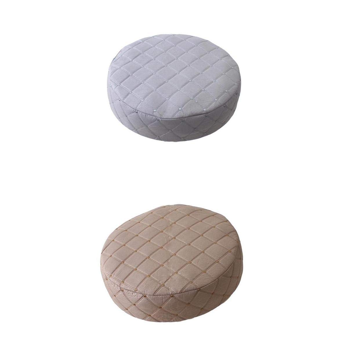 D DOLITY 35cm Bar Stool Cover Round Lift Chair Seat Sleeve Cushion Barstools Slipcover Band Height 10cm -2pcs Gray&Beige