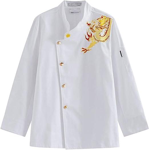 WYYSYNXB Otoño e Invierno Chef de Cocina Ropa de Trabajo Camisa de Manga Larga Unisexo Chaqueta de Chef de Uniforme,M: Amazon.es: Hogar