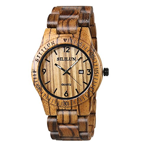 SILILUN Mens Wooden Watch Analog Quartz Lightweight Handmade Wood Wrist Watch Calendar Wood Watch
