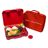 Bento Lunch Box-Red - by mmm...Lunch Buddies-Double Leak Proof Container-New Dual Latch-Great for Kids or adults +FREE INSULATED LUNCH BAG-Healthy Portion Plate-5 COMPARTEMENTS -Microwave-Dishwasher