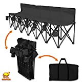 Strong Camel Folding Chair Sports 6 Seater Sideline Portable Bench w Cup Holder and Carry Bag (Black)