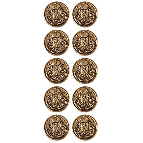 Vintage Gold Button (Mibo ABS Metal Plated Military Look Shank Button Vintage Coat of Arms Crest 28 Line Matte Antique Gold 10 Pack)