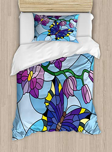 Ambesonne Orchids Duvet Cover Set Twin Size, Mosaic Fractal Style Blooms with Butterfly Spiritual Pastel Zen Cartoon Pattern, Decorative 2 Piece Bedding Set with 1 Pillow Sham, Multicolor