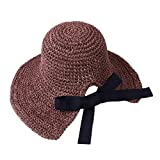 2019 New !Women's Soft Bow Handmade Foldable Rear Split Strap Hat Fisherman Farmer Spring Summer Outdoor Straw Hat (Coffee)