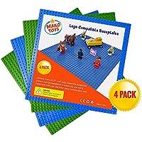 """LEGO baseplates COMPATIBLES (4piezas de 10"""" x 10"""") en azul y verde, funciona con principales conjuntos de ladrillo Building, maravillosa placa para niños"""