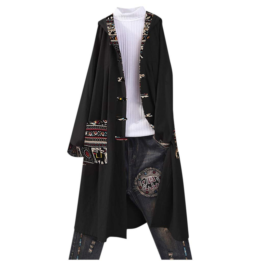 Women's Loose Tunic Cardigan Hooded Coat Boho Print Button Pocket Jacket Loose Cardigan Patchwork Outerwear Tops by Sinzelimin