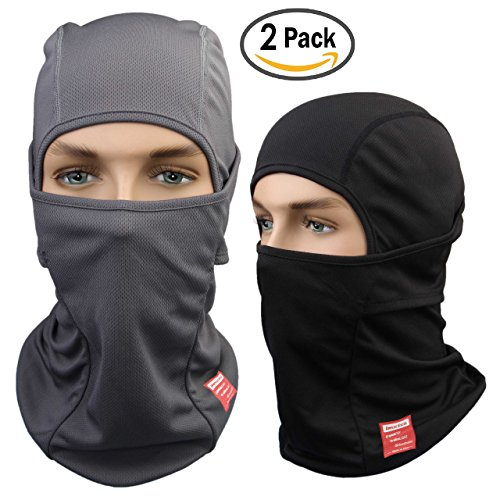 Dimples Excel Balaclava Motorcycle Tactical Skiing Face Mask [2 PACK] (Black + Grey) (White Ninja Hood compare prices)