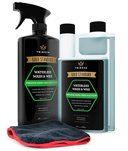 Waterless Car Wash and Wax Kit - Bug and Sap Remover -- Clean and Protect Paint of Truck, SUV, Boat, RV or vehicle with one Quick Application. Concentrated formula for best value. TriNova.
