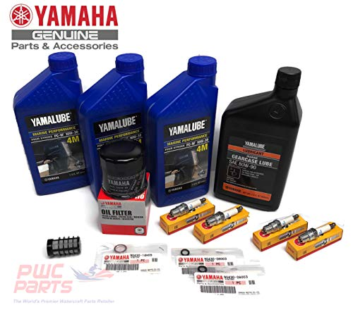 - YAMAHA OEM 1995-2004 F50 T50 Oil Change 10W30 FC 4M Lower Unit Gear Lube Drain Fill Gasket Spark Plugs NGK DPR6EA-9 Primary Fuel Filter Maintenance Kit