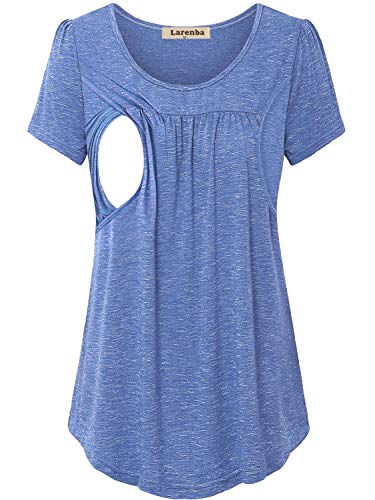 Women's Comfy Maternity Nursing Tee Shirt Short Sleeve Flattering Sides Double Layer Breastfeeding Tops (Blue, Medium)