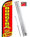 Vista Flags Best Burgers in Town Windless Feather Banner Flag Kit (Flag, Pole, Ground Mt)