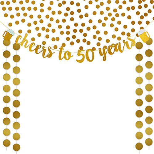 Gold Glittery Cheers To 50 Years Banner,Gold Glittery Circle Dots Garland and Gold Glittery Confetti,for 50th Birthday Wedding Anniversary Party Decoration Supplies (Birthday 50th Decorations Gold)