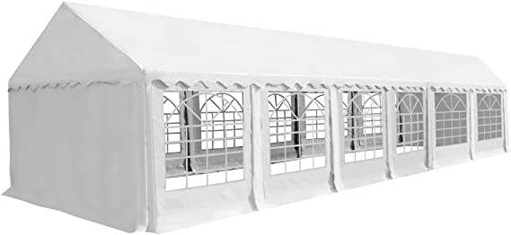 XINGLIEU Carpa de jardín marquesina PVC 6 x 12 m Blanco pérgola ...