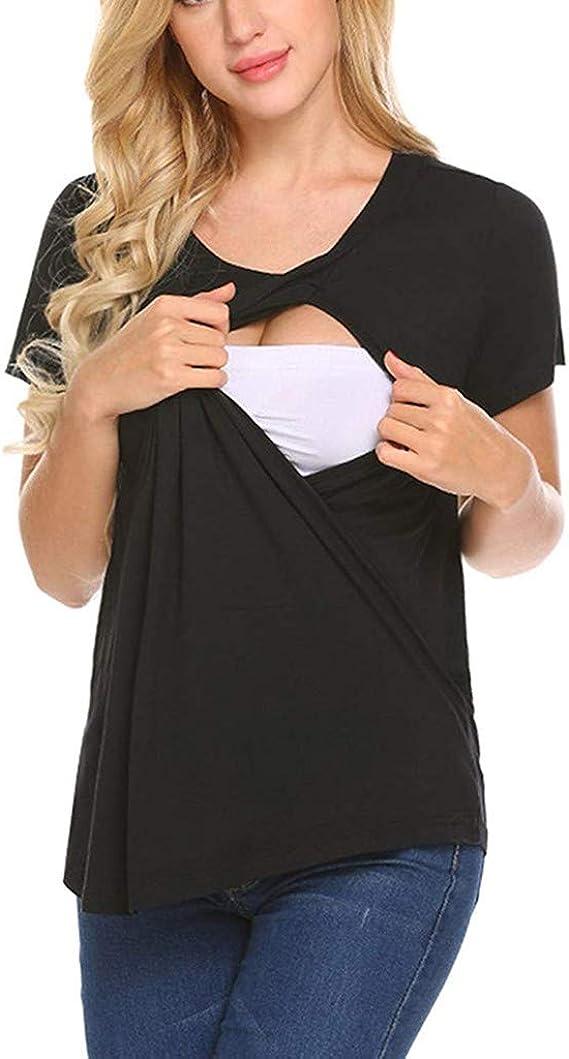 Haut Maternit/é Allaitement YUYOUG Nursing Blouse Femmes Enceintes sans Manches Florales Hauts Allaitement Maternit/é V/êtements T-Shirt Tops for Breastfeeding