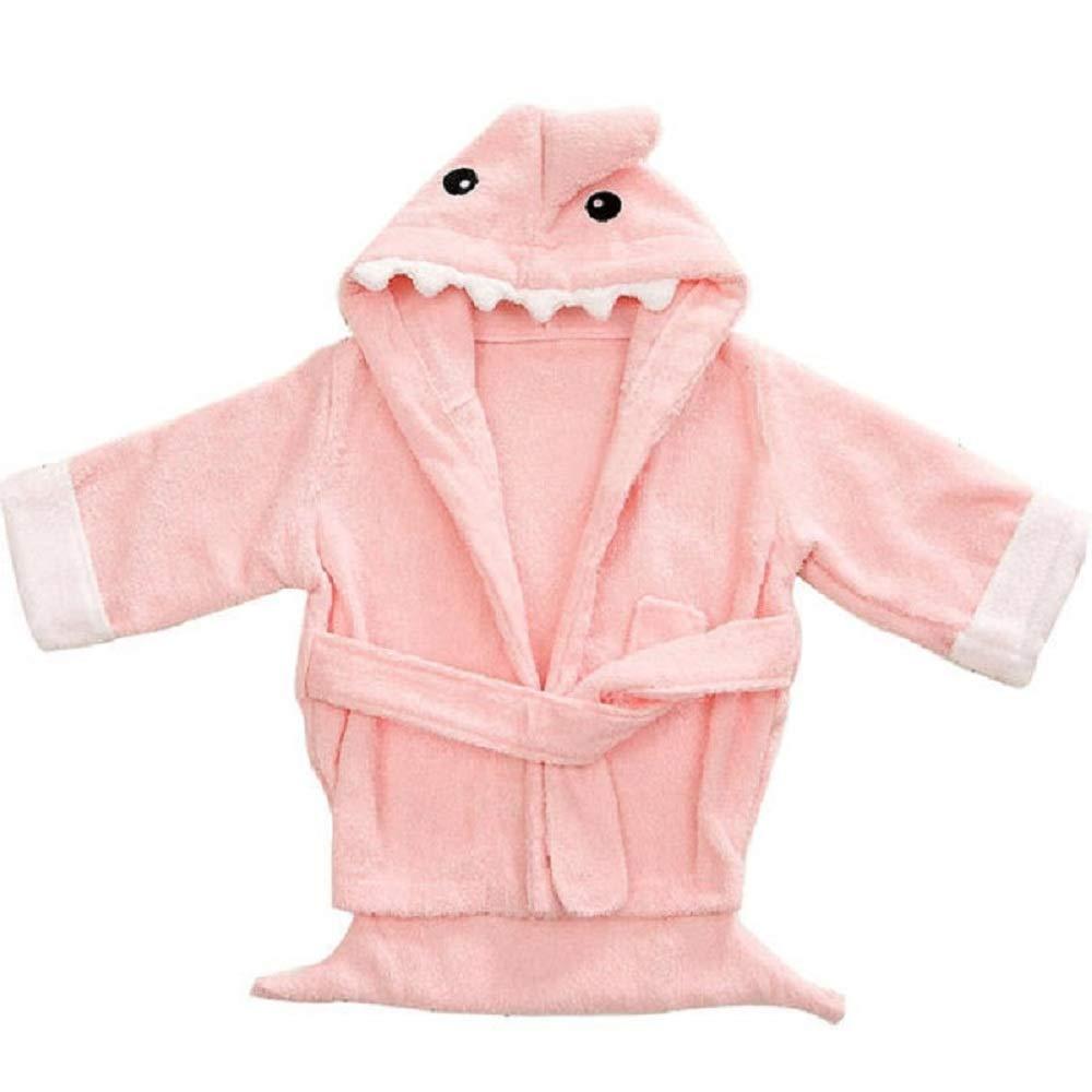 Hooyi Baby Pink Shark Bathrobe Bath Towels Newborn Blanket Bedding Swaddle (Pink, 0-1year)